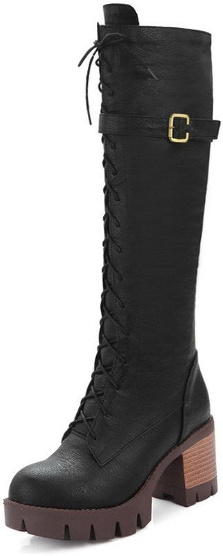 WeenFashion Women's Kitten Heels High Top Solid Zipper Boots