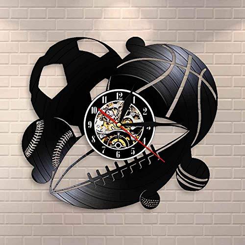 Tbqevc Pelota Deportiva Reloj de Pared decoración del hogar Baloncesto Golf Golf Golf Retro Vinilo Reloj de Pared Reloj Regalo 12 Pulgadas