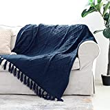 Solid Soft Cozy Cable Knitted Blanket Throw, Lightweight Decorative Textured Blue Throw Blanket with Fringes for Couch Chairs Bed Sofa,Navy Blue, 50'x 60'