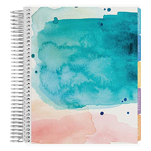 Erin Condren 2020-2021 Spanish Academic Planner (August 2020 - July 2021) - Watercolor Splash Cover - with Monthly View Tabs, Dated Calendar, Assignment Trackers and Notes Pages