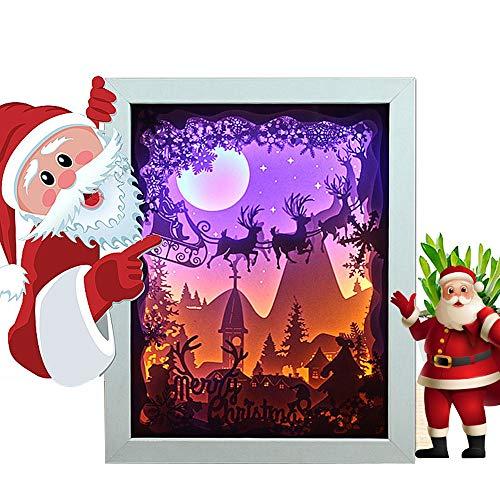 La Scultura di Santa Paper Lampada Elk Papercut Light Boxes Mano Silhouette Art Night Light Occhiali di Protezione LED Fonte, Il miglior Regalo per la Festa