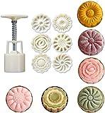 5 piezas de sello de galleta, prensa manual, molde para pastel de luna, cortador de galletas, forma de flor para hornear, galletas, queso, pastel de calabaza, fondant, postres, utensilios para horne