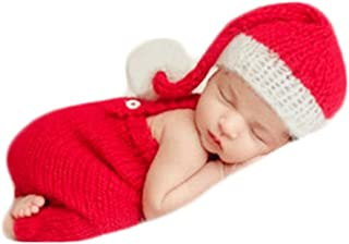 Baby Photography Props Boy Girl Photo Shoot Outfits Newborn Crochet Costume Infant Knitted Christmas Clothes Hat Rompers Red