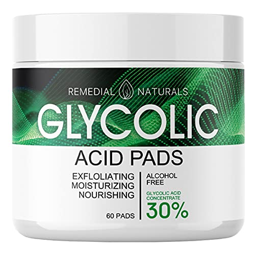 Glycolic Acid Pads for Skin Care – 30% Moisturizing and Exfoliating Facial Peel, Dark Spot Blackhead Remover, Pore Minimizer Treatment – 60 Pre-Moistened Cotton Pads for Face Cleansing and Peeling