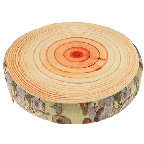 LANFIRE 3D Baum Holz Scheibe Memory Foam Weiche Wurfkissen Log Kissen Puppe Stuhl Sitzkissen für Home Office Gingko Baum Obst Kissen Sofa Schaum Kissen (Cushion 02)