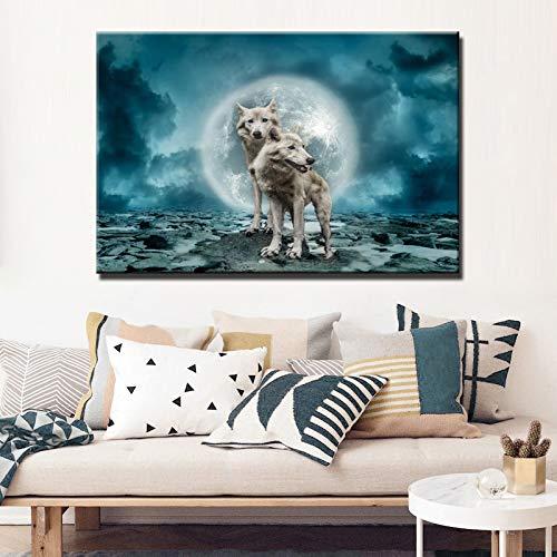 SADHAF Modern dier wolf affiche en druk HD muurkunst canvas schilderkunst wandafbeelding 60x90cm (kein Rahmen) A5