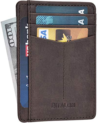 Minimalist Wallet for Men and Women - Genuine Leather RFID Secured Card Case (Brown)