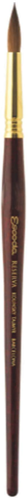 Escoda Reserva 1212 Series Artist Watercolor Short Handle Round Paint Brush Size 10, Pure Kolinsky-Tajmyr,1212-10