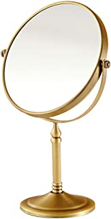 Vanity Mirror Desktop Makeup Mirror 360 Degree Free Rotation Bracket Copper HD Silver Plated Double-Sided Stable Base for Family Makeup Room Gold