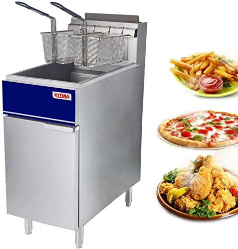"""Commercial Deep Fryer - 50 lb Natural Gas 4 Tube Floor Fryer with 2 Free Fryer Baskets and Oil-Drain - Fryer Strainer Restaurant Equipment for French Fries Fried Chicken 120,000 BTU/h17.7""""×33.5""""×37.9"""""""