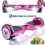 chic hoverboard 6.5'' patinete eléctrico bluetooth monopatín scooter autobalanceado, ruedas de skate con luz led, motor bluetooth de 700w para niños y adultos (cielo púrpura)