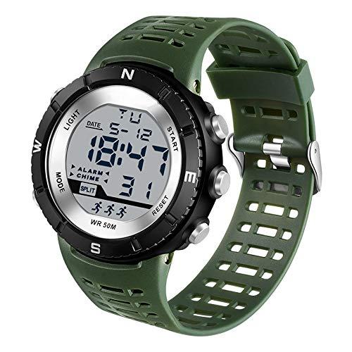Relojes Deportivos para Hombre, Reloj LED de Cuarzo Digital de Moda Militar para Hombre, Reloj de Pulsera de Dibujos Animados Resistente al Agua para niños, Verde