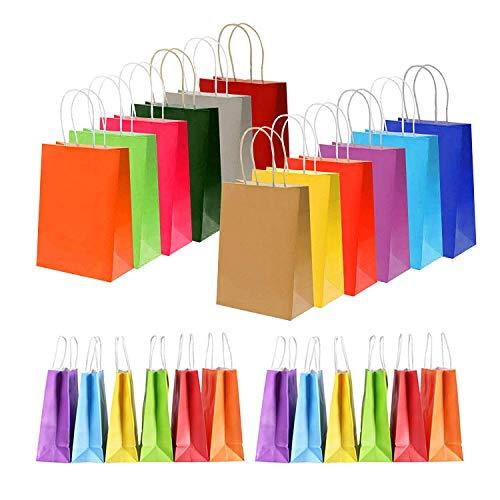 AiYoYo 24 Stück Papier Geschenktüten Bunt Papiertüten Kraftpapier Candy Tüten Partytüten 22x8x16 cm mit Henkel Ideal fur Kindergeburtstag, Babyparty, Hochzeit, Weihnachten (A)