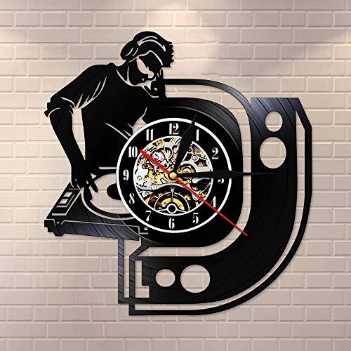 wtnhz LED-DJ Mezclador música Disco de Vinilo Reloj de Pared Decora tu casa con música Moderna Arte Disc Jockey Reloj de Pared Suministros para Fiestas