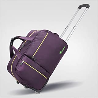 Overnight Weekender Bags for Women Soft Rolling Tote Travel Bag Suitcases with Wheels, Waterproof Rolling Duffel Bag Wheeled Business Carry on Luggage (Color : Purple, Size : 20 inch)