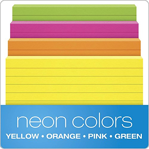 """Oxford Neon Index Cards, 3"""" x 5"""", Ruled, Assorted Colors, 100 Per Pack, Sold as 5 Pack, 500 Cards Total (40279) Photo #3"""