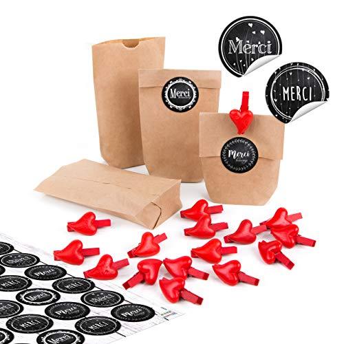 Logbuch-Verlag 24 geschenkzakjes kruisbodemzakjes natuur + 24 stickers zwart wit MERCI + 24 houten klemmen hart gastgeschenk give away bruiloft verjaardag Moederdag