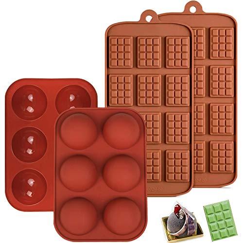 4 moldes de chocolate, moldes de silicona para dulces y pasteles, 2 moldes de chocolate para gofres y 2 moldes para tartas, antiadherentes reutilizables para hornear.