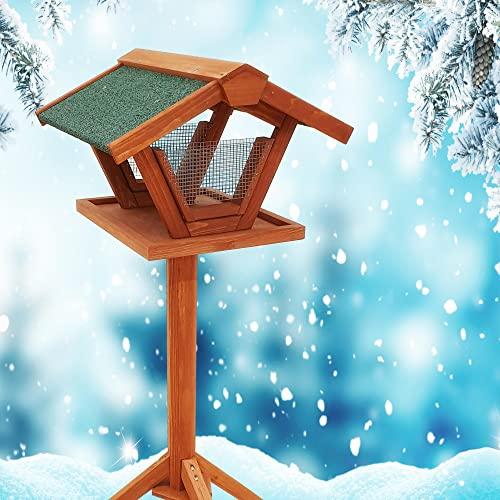 Vogelhaus Rubio - Vogelfutterhaus aus massivem Holz mit 2 Drahtsilos, Futtertisch & Ständer