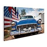 Tableau Tableaux Drapeau américain de voiture Usa Route 66 Cadre sur Toile Impression Photo Affiches
