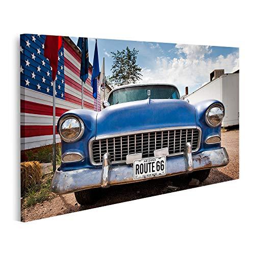 islandburner Cuadro en Lienzo American Car Flag USA Ruta 66 Cuadros Modernos Decoracion Impresión Salon