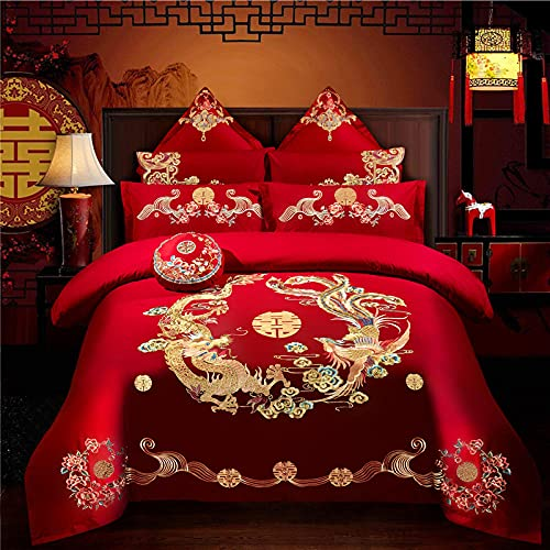 Christmas Duvet Cover Set Double,Wedding Four,Piece Big Red Embroidery Marriage Embroidered Festive