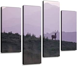 4 Panel lonely red deer deers and pictures Canvas Pictures Home Decor Gifts Canvas Wall Art for your Living Room