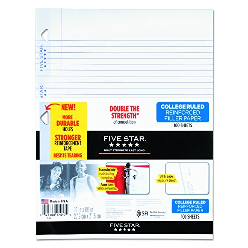 Five Star 17010 Reinforced Filler Paper, 20lb, College Rule, 11 x 8 1/2, White, 100 Sheets