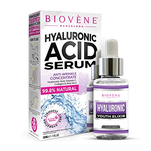 Biovène Hyaluronic Acid Serum - Highly Effective Anti-Ageing Hyaluronic Serum for Face - Combats Fine Lines, Wrinkles and Dullness - Moisturises, Brightens and Tightens Skin (30ml)