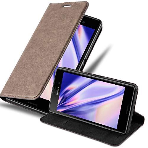 Cadorabo Hülle für Sony Xperia M4 Aqua - Hülle in Kaffee BRAUN – Handyhülle mit Magnetverschluss, Standfunktion & Kartenfach - Hülle Cover Schutzhülle Etui Tasche Book Klapp Style