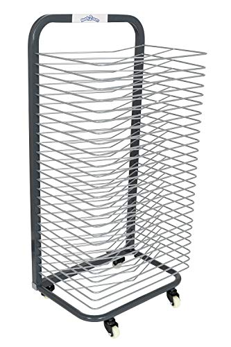 READY 2 LEARN Art Drying Rack - Sturdy Art Organizer for Paintings and Drawings - 25 Shelves - Steel - 4 Casters - 2 Locking Wheels - 37.75'H x 17.75'W
