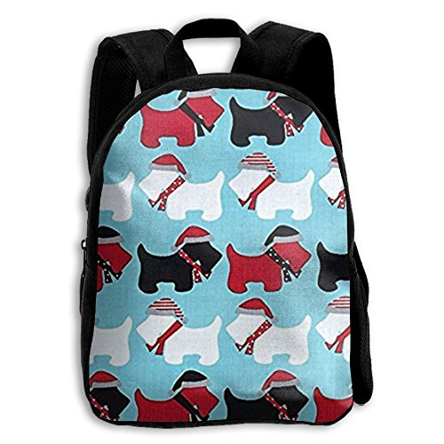 best& Jingle Scottie Dogs Aqua Vintage College Backpack Student School Bookbag Rucksack Travel Daypack