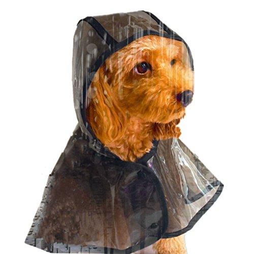 YJZQ Hund Regenmantel mit Hauben Durchsichtig Dickes PU Sommer Regenjacke Wasserdicht Transparent Regenkapuze Einstellbar Leicht ärmelloser Regenmantel mit Knopf für Kleine und Mittelgroße Haustiere