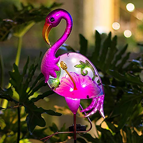RUILAIYA BOAER Flamingo Solar Pathway Lights Outdoor,Garden Stake Decorative Yard Art Metal& Glass Waterproof for Patio Lawn Pathway-8 Lumens