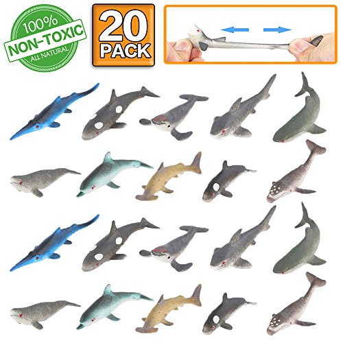 ValeforToy Shark Toy Figure 20 Pack Rubber Bath Toy SetFood Grade Material TPR Super Stretchy Ocean Sea Animal Squishy Floating Bathtub Toy Party FavorsRealistic Shark Dolphin Whale Figure