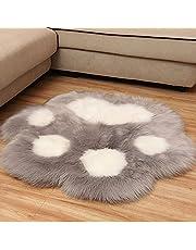 フェイクムートンラグ カーペット フェイクファーラグ ラグ マット 熊の掌デザイン 可愛い ソファーカバー ふんわり ふわふわ もこもこ 温かい おしゃれ 冷え対策 柔らかい 人工ウール 超良い じゅうたん 滑り止め付き