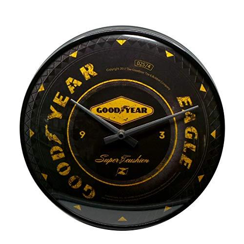 Nostalgic-Art, Reloj Retro de Pared, Goodyear Wheel – Regalo para los Fans de los Coches y Las Motos, Gran decoración, Diseño Vintage, Ø 31 cm