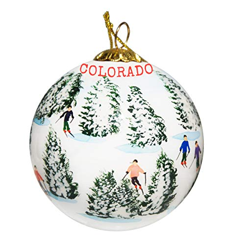 Art Studio Company Hand Painted Glass Christmas Ornament - Skiing The Glades - Colorado