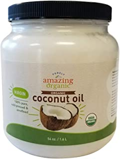 Purely Amazing Organics - Certified Organic Virgin Coconut Oil (54 oz) Non-GMO Cold Pressed, Great for Skin, Hair & Cooking