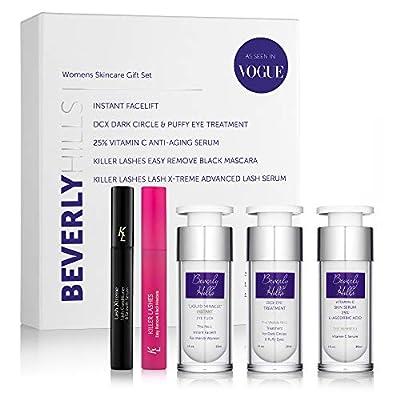 Beverly Hills Anti Ageing Skin Care For Women - Facial Kit Contains Instant Facelift (Original Bottle), Anti Aging Serum, Dark Circle & Puffy Eye Treatment, Lash Serum and Black Mascara