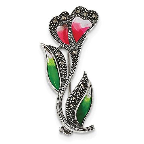 Diamond2deal - Broche de Plata de Ley 925 con diseño de Flores de epoxi y marcasita, Color Rojo y Verde Envejecido para Mujer