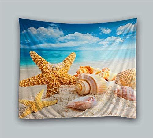 giyiohok Tapiz colgante de pared Estrella de mar y conchas marinas Tapiz de pared étnico Tapiz de pared Tapiz de pared natural Alfombra Manta de pared Paño para colgar en la pared 150 cm x 200 cm
