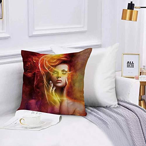 Lilatomer Funda de algodón 45 x 45 cm Chica Mujer Sexy Retrato exótico Chica Parte Superior del Cuerpo Cerrar Ojos Fantasía N Sofá Throw Cojín Almohada Caso de la Cubierta para Sala de Estar 45x45cm