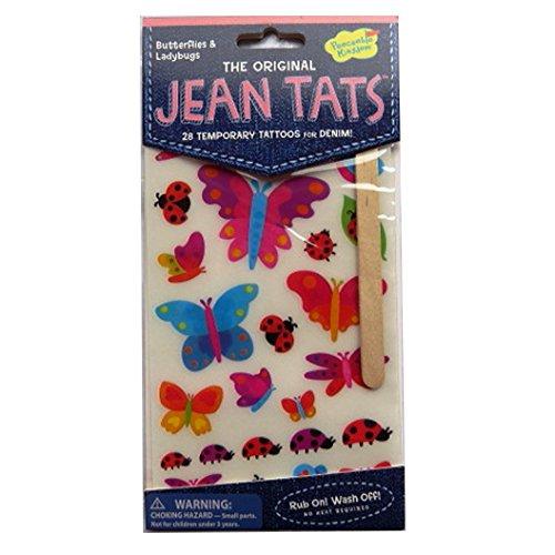 L'original Jean / Denim / Tissu Tatouages - Papillons et Coccinelles - par Peaceable Kingdom