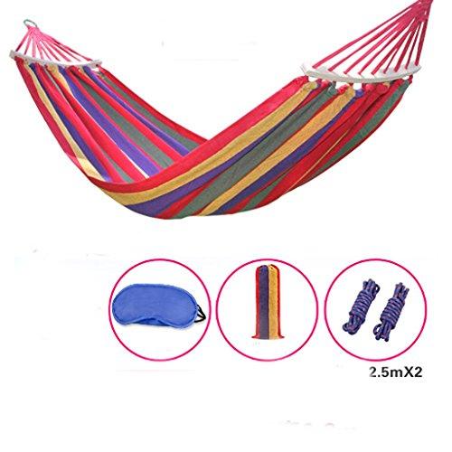 MMWYC Hammock Camping Outdoor Hammock, Camping Stick Canvas Breathable Portable Leisure Single Hammock Garden Hammock 180X80cm(71X31.5in) Red