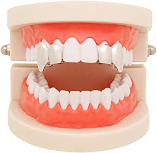 2PC 14k Gold Silver Shiny Double Vampire Fangs Grills Top Bottom Teeth Grillz Combo