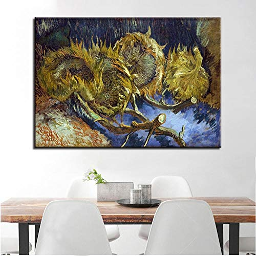 wZUN Canvas Painting Home Decor Wall Art Burning Sunflower Poster HD Prints Impressionist Pictures 50x70cm Frameless