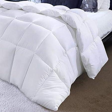 Oikupe Couette d'hiver de luxe en plumes d'oie et duvet d'oie, housse 100 % coton, anti-acariens et anti-duvet, blanc, 220 x 240 cm