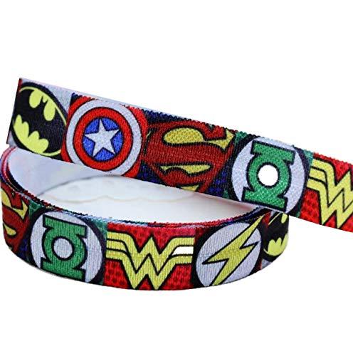 Dünnes Dekoband/Ripsband von Pimp My Shoes, für Kuchen/Geschenke zum Geburtstag oder Basteln usw., Design: Superhelden aus den Avenger-Comics von Marvel, 16mmx2m