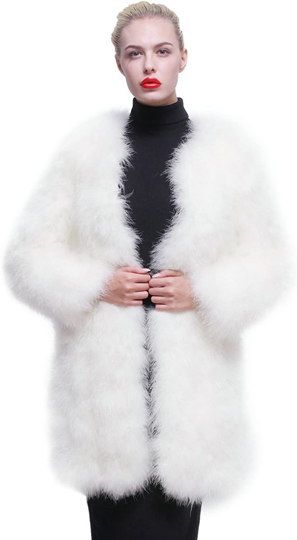 URSFUR Women Winter Jacket Real Ostrich Feather Fur Coat Multicolor
